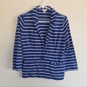 Caslon Blue & White Striped Knit One Button Blazer